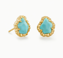 Kendra Scott Tessa Gold Small Stud in Light Blue Magnesite