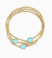 Kendra Scott Tomon Stretch Bracelet in Gold with Light Blue Magnesite