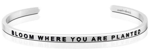 "MantraBand Silver ""Bloom Where You Are Planted"" Bracelet"