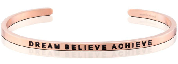 MantraBand Rose Gold Dream Believe Achieve Bracelet
