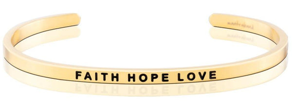 MantraBand Gold Faith Hope Love