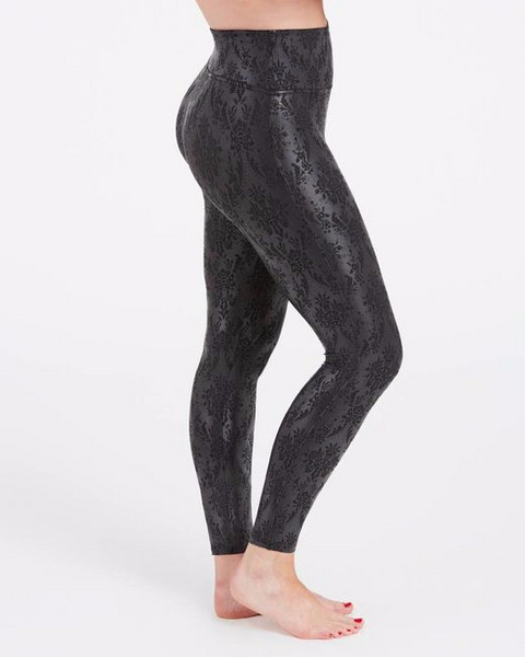 Spanx Faux Leather Legging Black Brocade