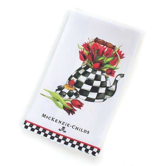 Mackenzie Childs tulip tea kettle dish towel