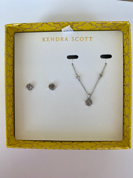 Kendra Scott Nola necklace & stud gift set platinum druzy