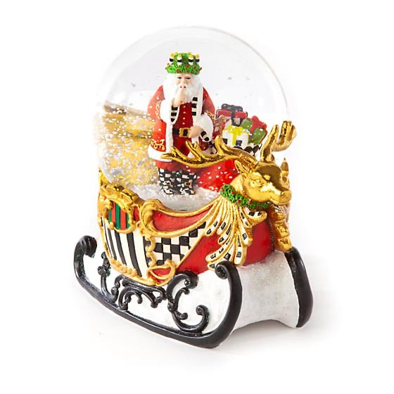 Mackenzie Childs sleigh ride Santa snow globe