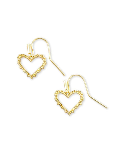 Kendra Scott sophee heart drop earring gold