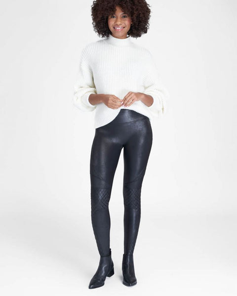 Spanx Quilted Faux Leather Legging Very Black