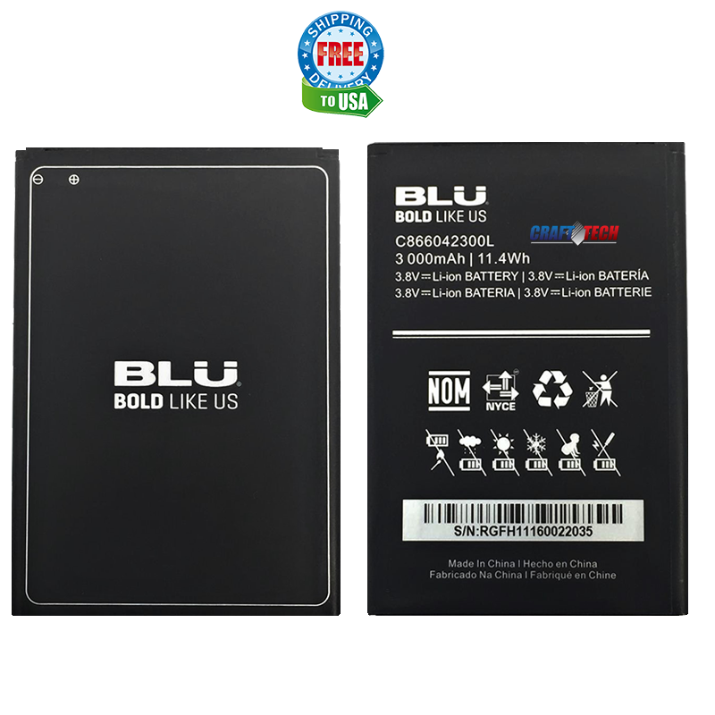 New Li-ion Battery For C866042300L BLU Studio Selfie 2 S230, BLU Studio C 8+8 S270Q & C 8+8 LTE 3000mAh