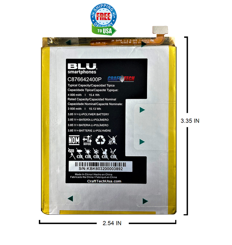 BLU G90 G0310ww Original OEM Battery C876642400P