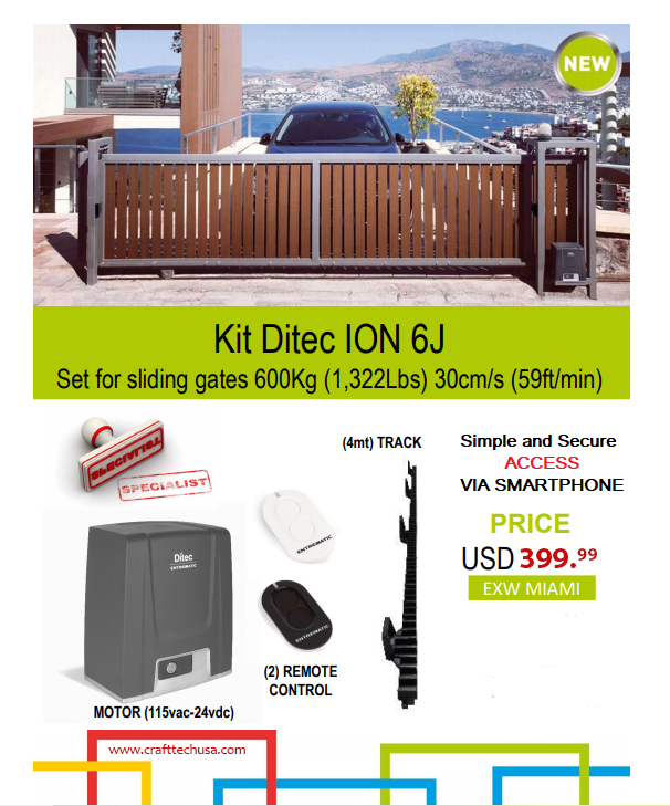 complete Automation Kit for sliding gates up to 600 Kg Ditec ION6J
