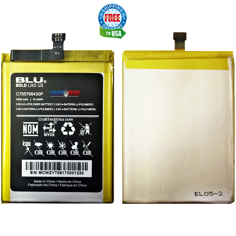 BLU Tank Extreme PRO T010uu Original OEM Li-Polymer Battery C755768430P 4300mAh 3.8V Replacement battery
