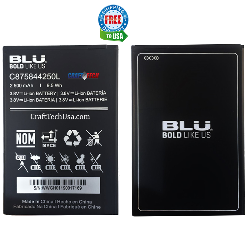 BLU C6L Original OEM Li-ion Battery C875844250L 2500 mAh
