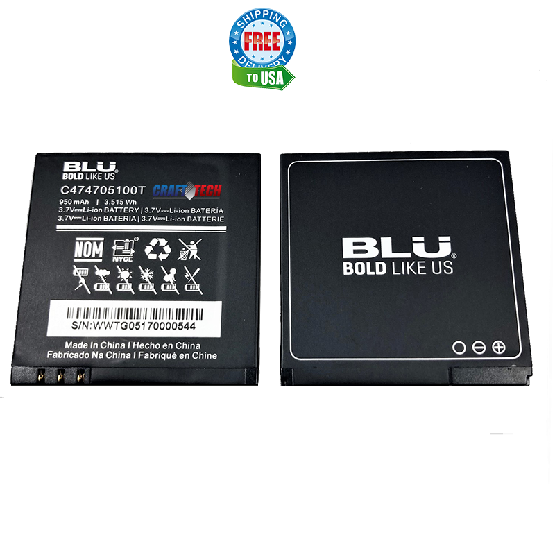 Blu Battery C474705100T for Dash Jr D140/D140S /D140W Original OEM battery