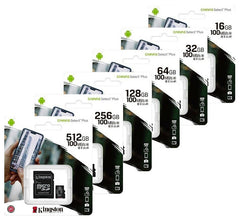 Kingston microSDHC Canvas Select Plus 100MB/s Read A1 Class 10 UHS-I Memory Card + Adapter