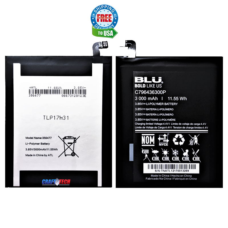 C796436300P BLU Original OEM Li-ion Polymer Battery for BLU VIVO XL3 PLUS Phone Model  V0210WW