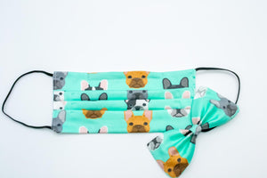 Green French Bulldog Face Mask And Dog Bow Tie