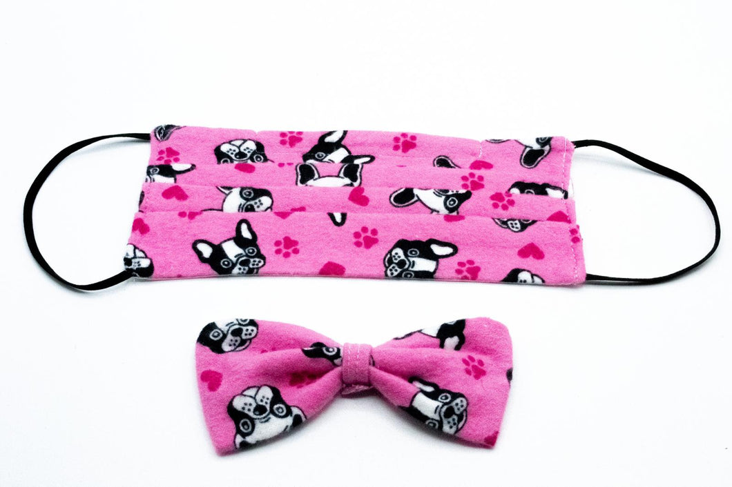 Pink French Bulldog Face Mask And Dog Bow Tie