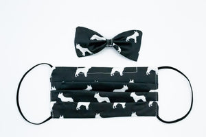 Black French Bulldog Face Mask And Dog Bow Tie