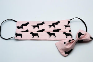 Baby Pink French Bulldog Face Mask And Dog Bow Tie