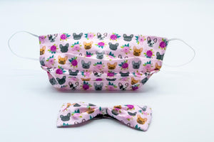 Flower Pink French Bulldog Face Mask And Dog Bow Tie