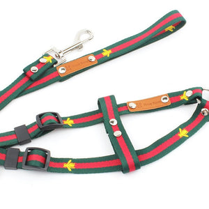 Dog Harness and Leash Sets Bee Embroidery