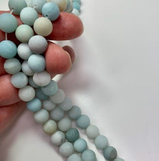 10mm Round Frosted Amazonite