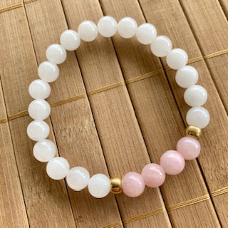 Mala Kit - 8mm White Jade with Dyed Pink Jade and Gold Accents
