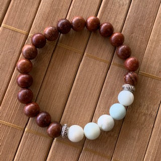 Mala Kit - 8mm Exotic Wood/Frosted Amazonite