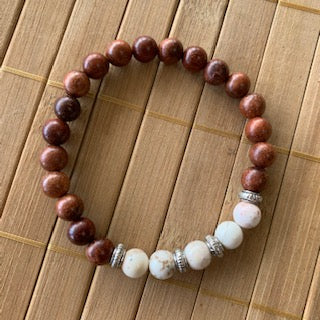 Mala Kit - 8mm Exotic Wood/Natural Howlite
