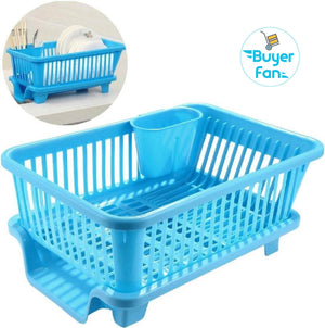 3 in 1 Large Sink Set Dish Rack Drainer with Tray for Kitchen, Dish Rack Organizers
