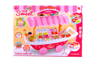39 Pieces Beautiful Kid's Ice Cream Candy Cart Pretend Play