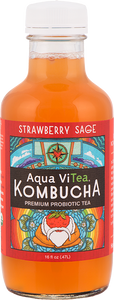 Aqua ViTea, Kombucha Strawberry Sage Regional, 16 oz