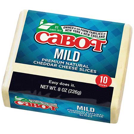 Cabot, Cheese Cheddar Mild Slices Regional, 8 oz