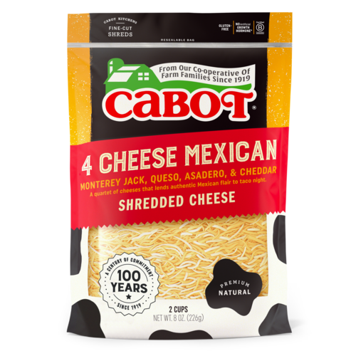 Cabot, Cheese 4 Cheese Mexican Shredded Regional, 8 oz