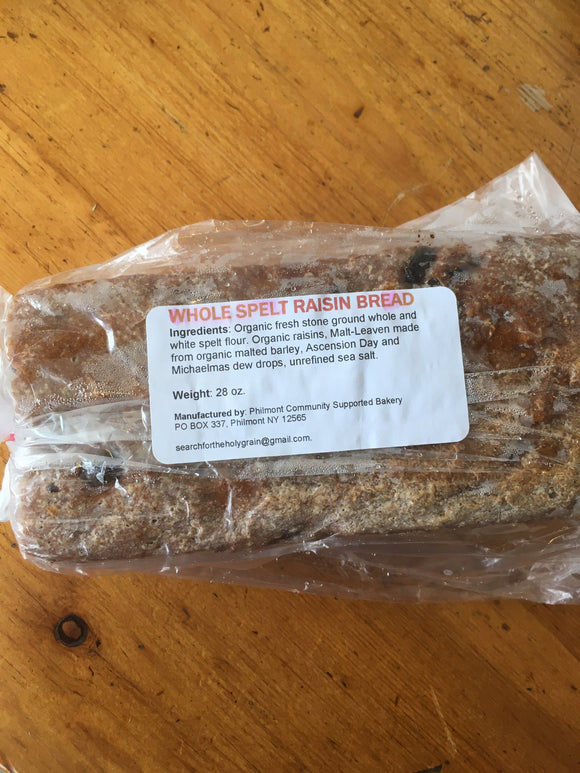 Philmont Community, Bread Spelt Raisin Philmont NY, 28 oz
