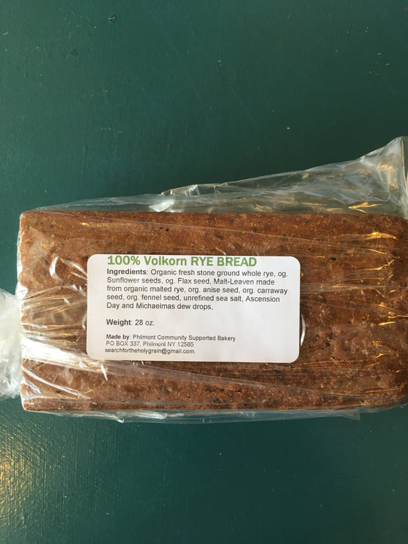 Philmont Community Bakery, Bread 100% Rye Volkorn, 28 oz