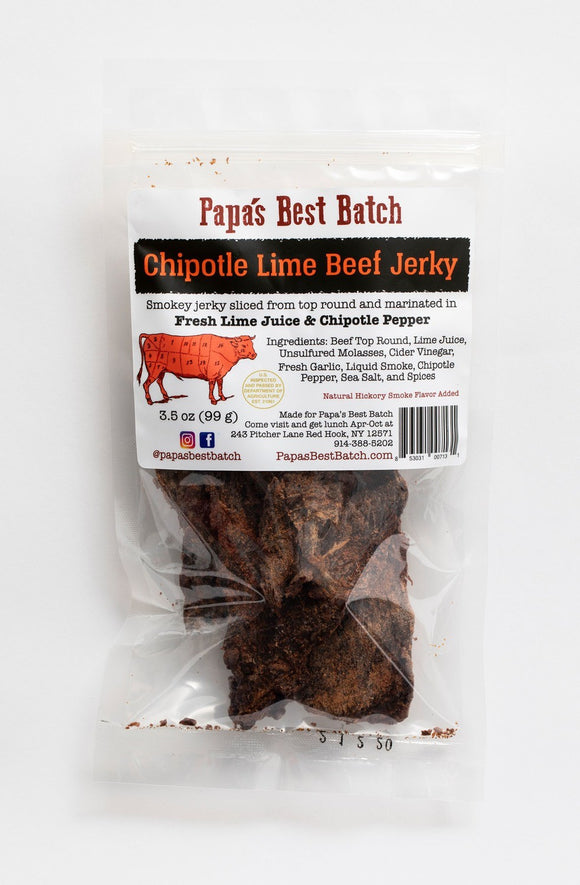 Papa's Best Batch, Beef Jerky Chipotle Lime Red Hook NY, 3.5 oz