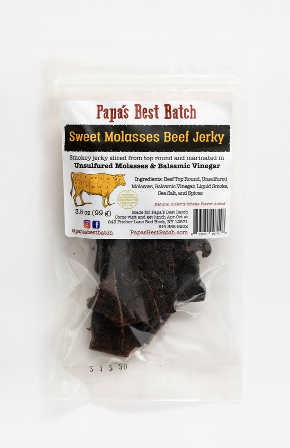 Papa's Best Batch, Beef Jerky Sweet Molasses Red Hook NY, 3.5 oz