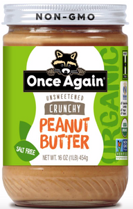 Once Again, Peanut Butter Crunchy Unsweetened No Salt Organic Regional, 16 oz