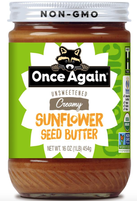 Once Again, Sunflower Seed Butter No Sugar No Salt Creamy Organic Regional, 16 oz