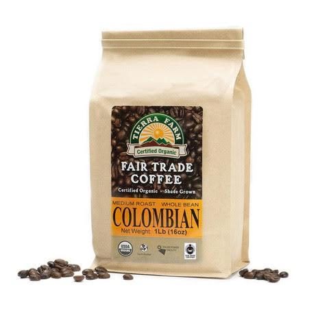 Tierra Farm, Coffee Columbian Whole Bean Local, 1 lb