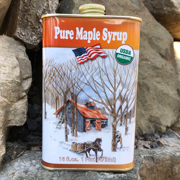 Maple Leaf Sugaring, Syrup Maple Tin Ghent NY, 16 oz