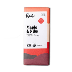 Raaka, Chocolate Maple and Nibs 75%, 1.8 oz