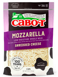 Cabot, Cheese Mozzarella Shredded Regional, 8 oz