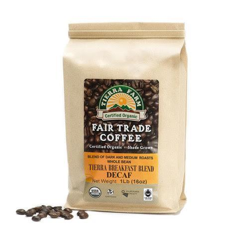 Tierra Farm, Coffee Decaf Blend Whole Bean Regional, 1 lb