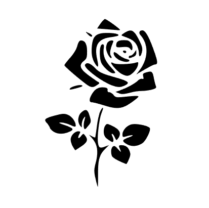 Simple Single Rose Stencil