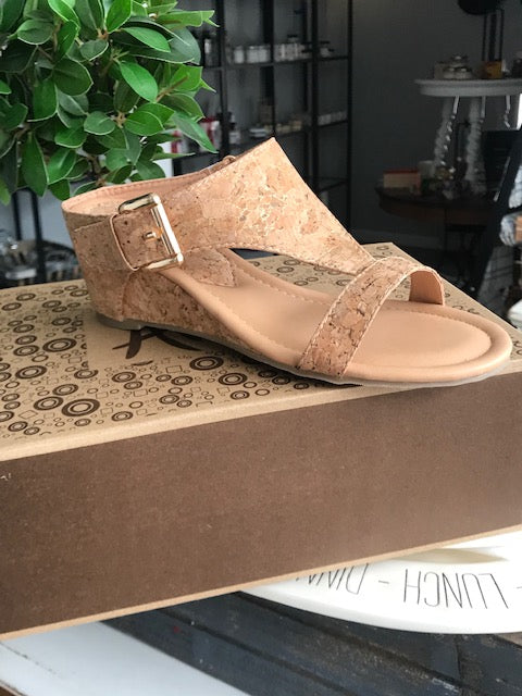 Cork Sling Mini-wedge Sandal