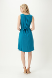 Mona Pleat Bamboo Dress with pockets - Harbour Teal