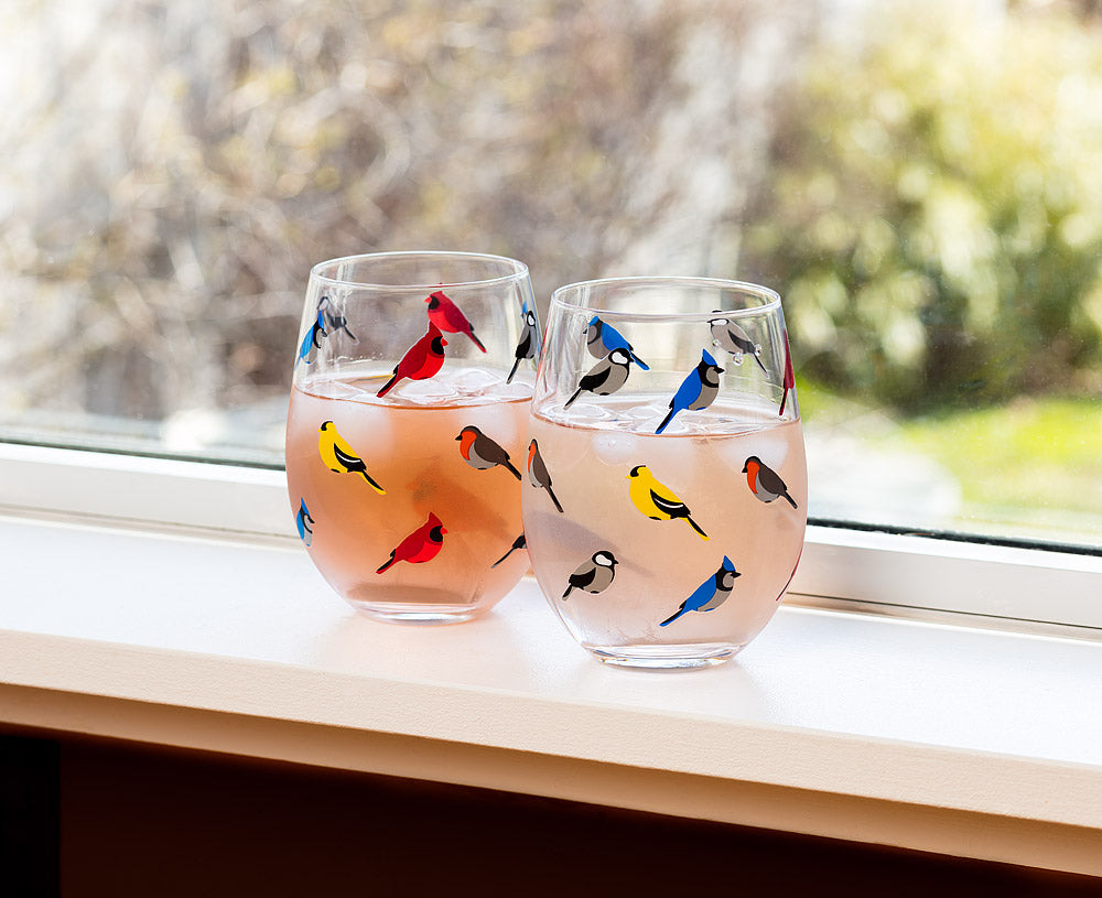 Stemless Goblet With Birds
