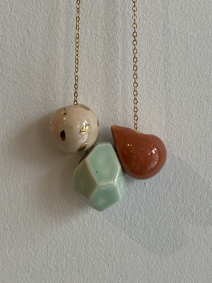 Three Ceramic Bead Necklace - Pink, Mint and Terracotta